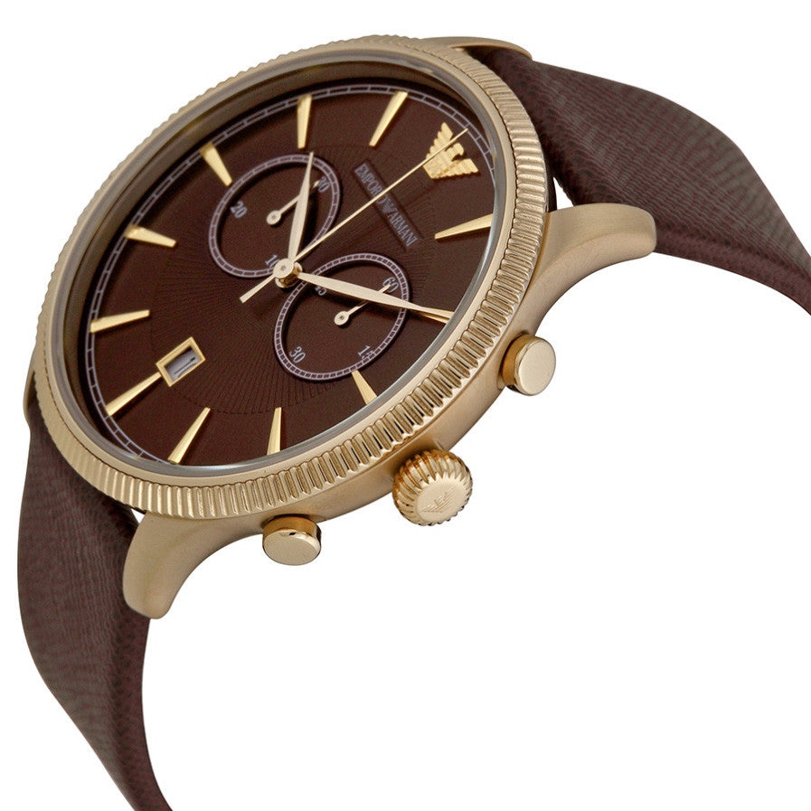 Classic Chronograph Brown Dial Brown Leather Men's Watch