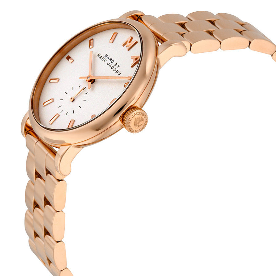 Baker Silver Dial Rose Gold-tone Ladies Watch