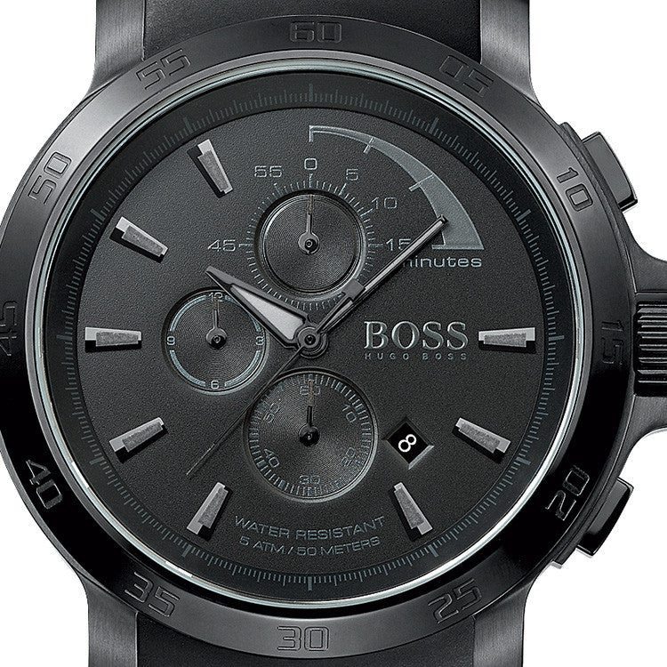 Chronograph Black Dial Black Rubber Men's Watch