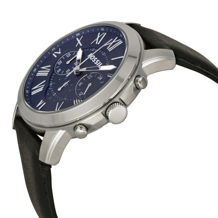 Grant Chronograph Blue Dial Black Leather Men's Watch