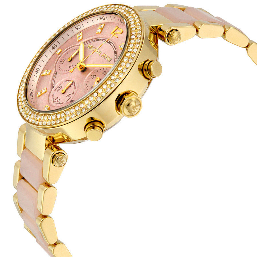 Parker Pink Dial Gold-Tone Stainless Steel Pink Acetate Ladies Watch