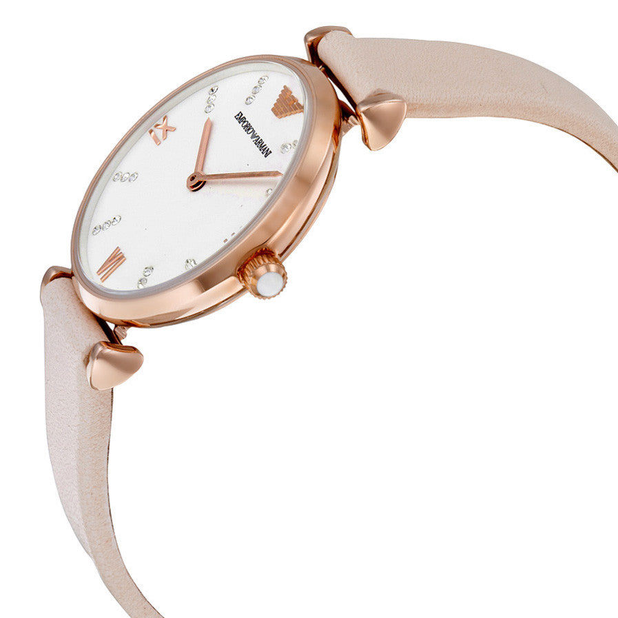 White Dial Pale Pink Leather Ladies Watch
