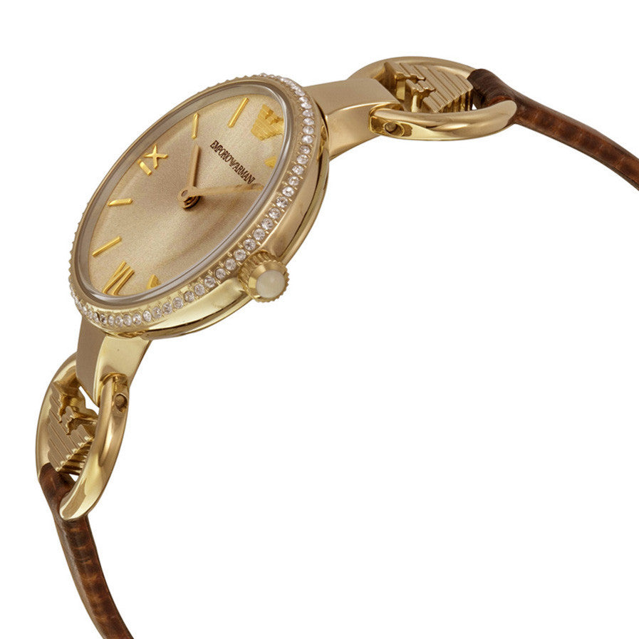 Emporio Classic Gold Sunray Dial Brown Leather Ladies Watch