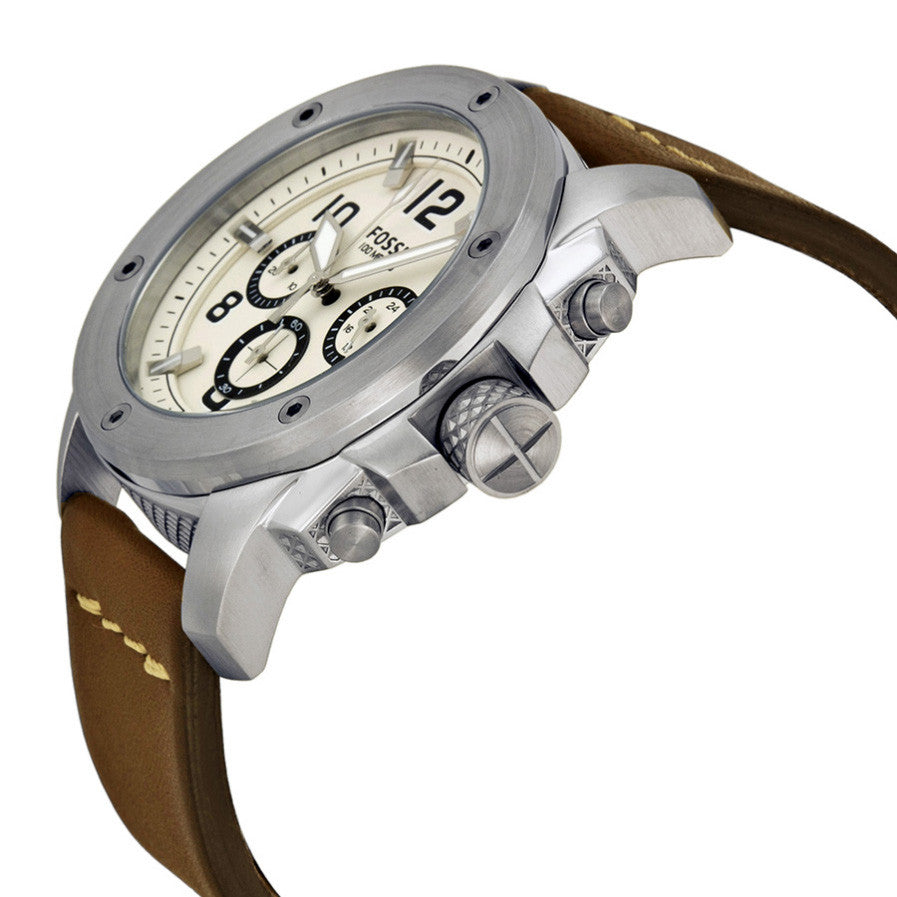 Modern Machine Chronograph White Dial Brown Leather Men's Watch