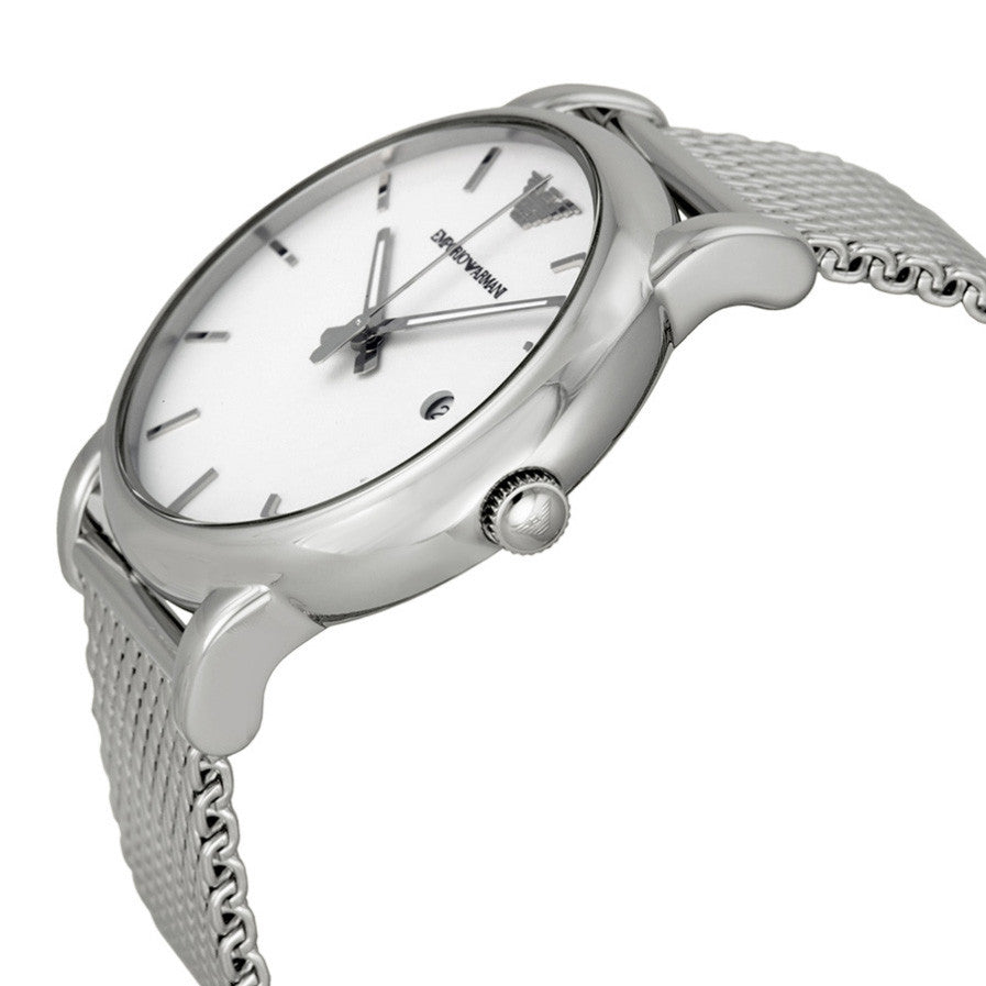 Classic White Dial Stainless Steel Men's Watch