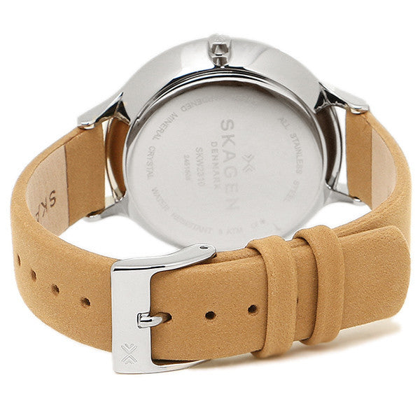 Anita Multi-Function Blue Dial Tan Leather Ladies Watch