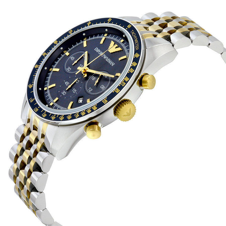 Navy Blue Dial Chronograph Two Tone Stainless Steel Men's Watch