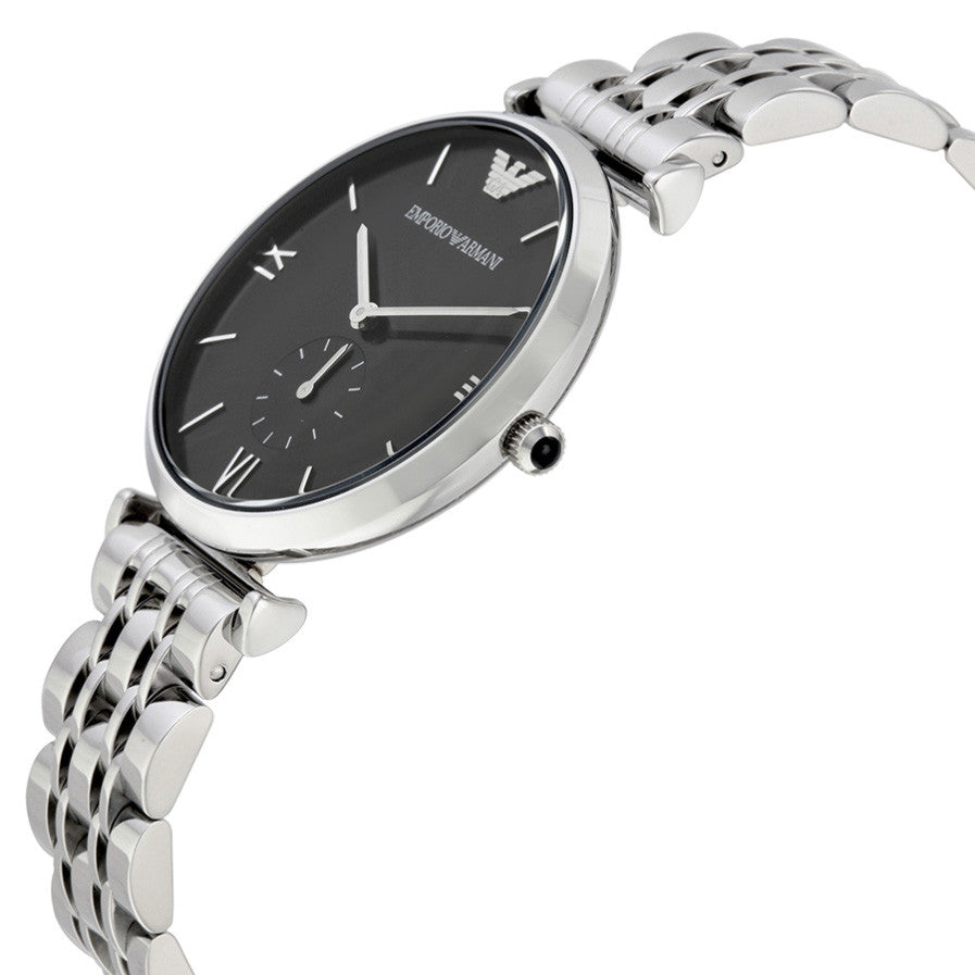 Retro Black Dial Stainless Steel Men's Watch