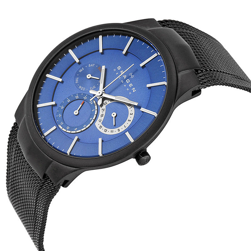 Chronograph Blue Dial Black Mesh Bracelet Men's Watch