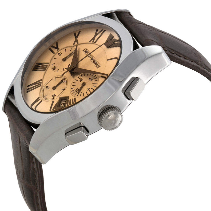 Chronograph Amber Dial Brown Leather Men's Watch