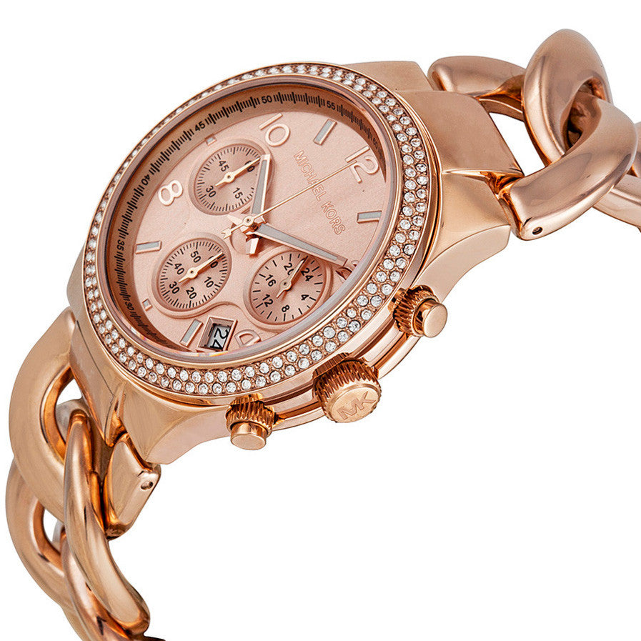 Chronograph Rose Dial Rose Gold Ion-plated Ladies Watch