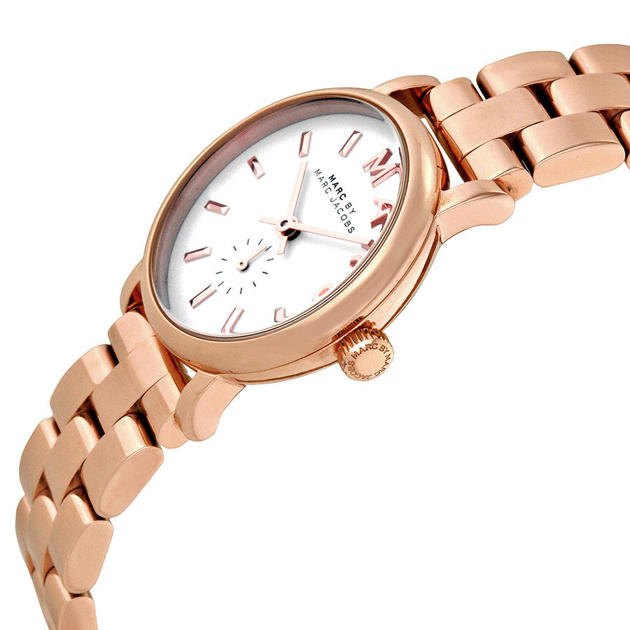 Baker White Dial Rose Gold-plated Ladies Watch