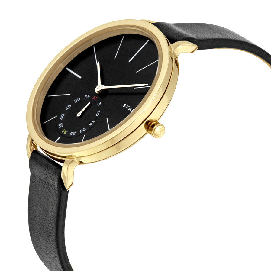 Hagen Black Dial Black Leather Ladies Watch