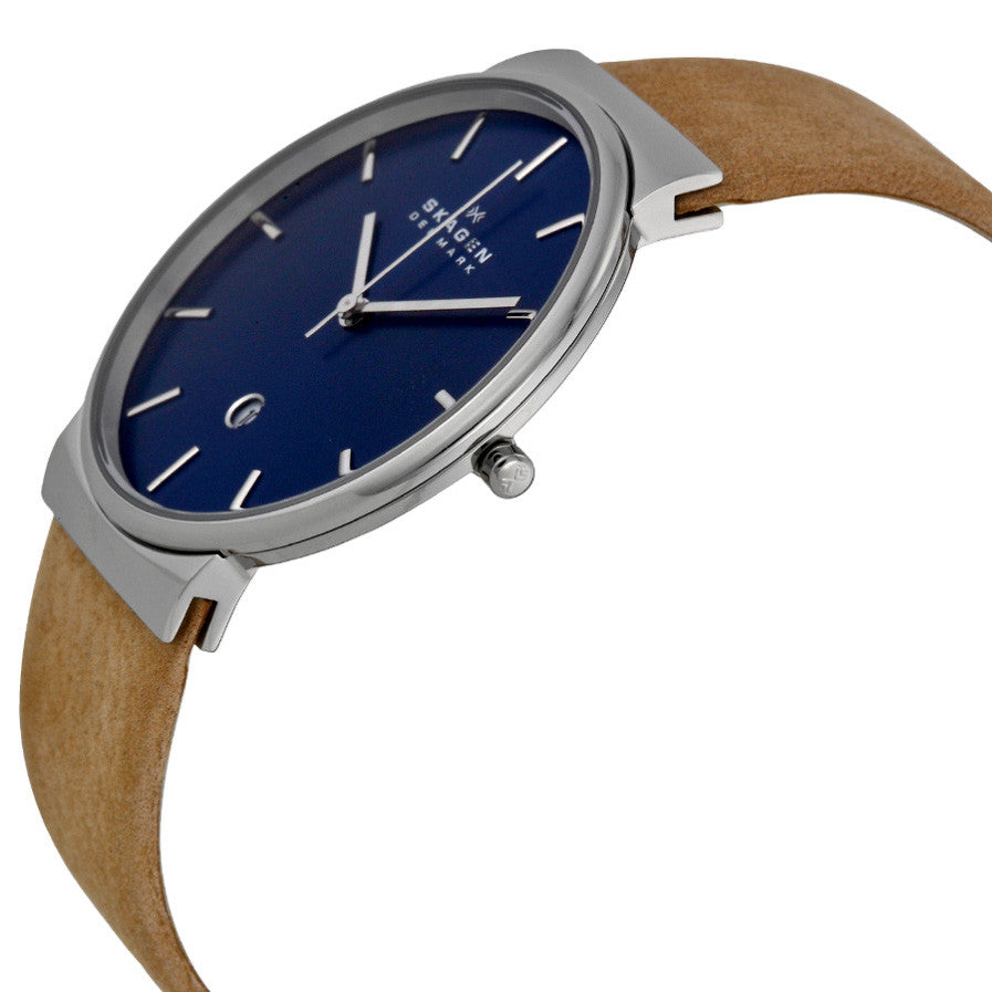 Ancher Blue Dial Tan Leather Men's Watch