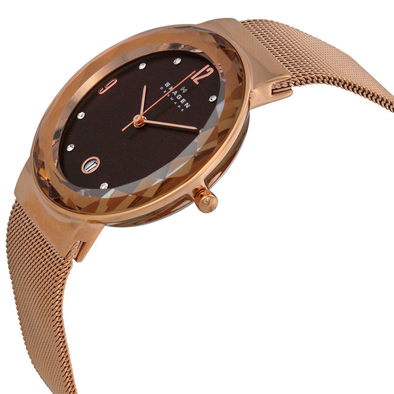Klassik Brown Dial Rose Gold-plated Mesh Ladies Watch