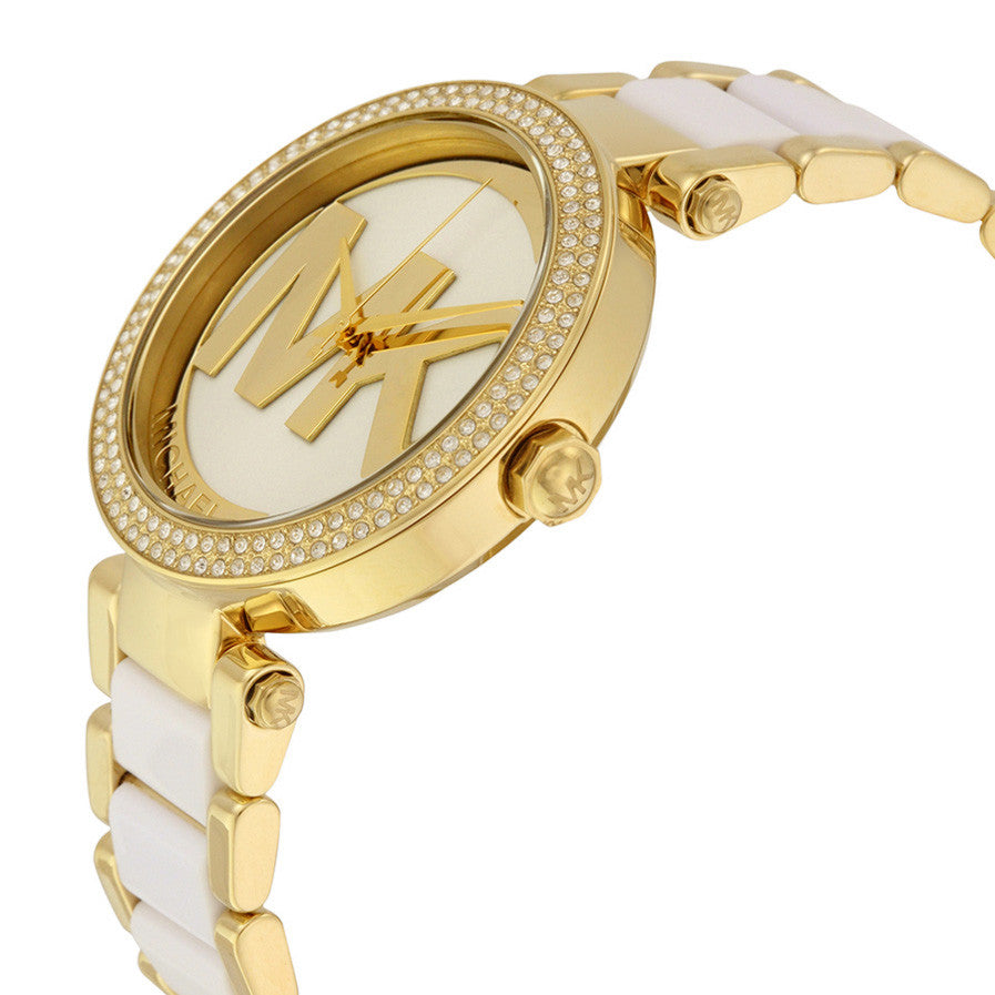 Parker Gold-Tone and White Acetate Ladies Watch
