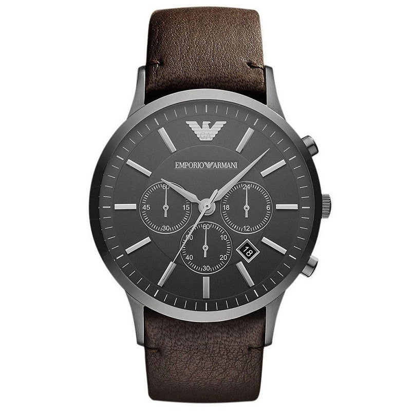 Sportivo Chronograph Grey Dial Brown Leather Strap Men's Watch