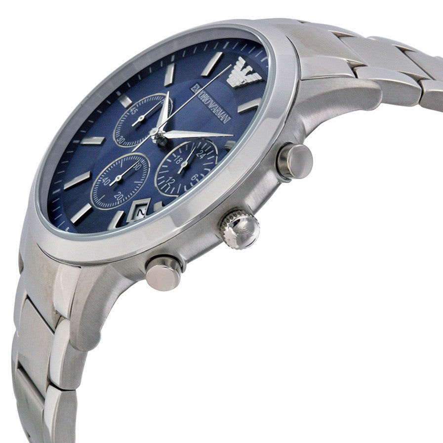 Chronograph Navy Blue Dial Steel Bracelet Men's Watch