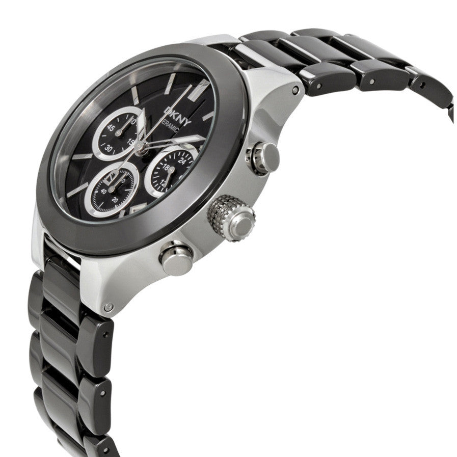 Black Dial Chronograph Black Ceramic Ladies Watch