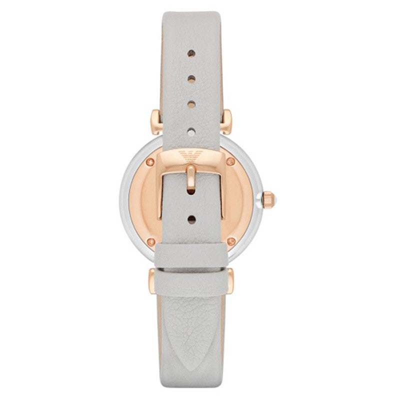 Retro Mother Of Pearl Dial Grey Leather Ladies Watch