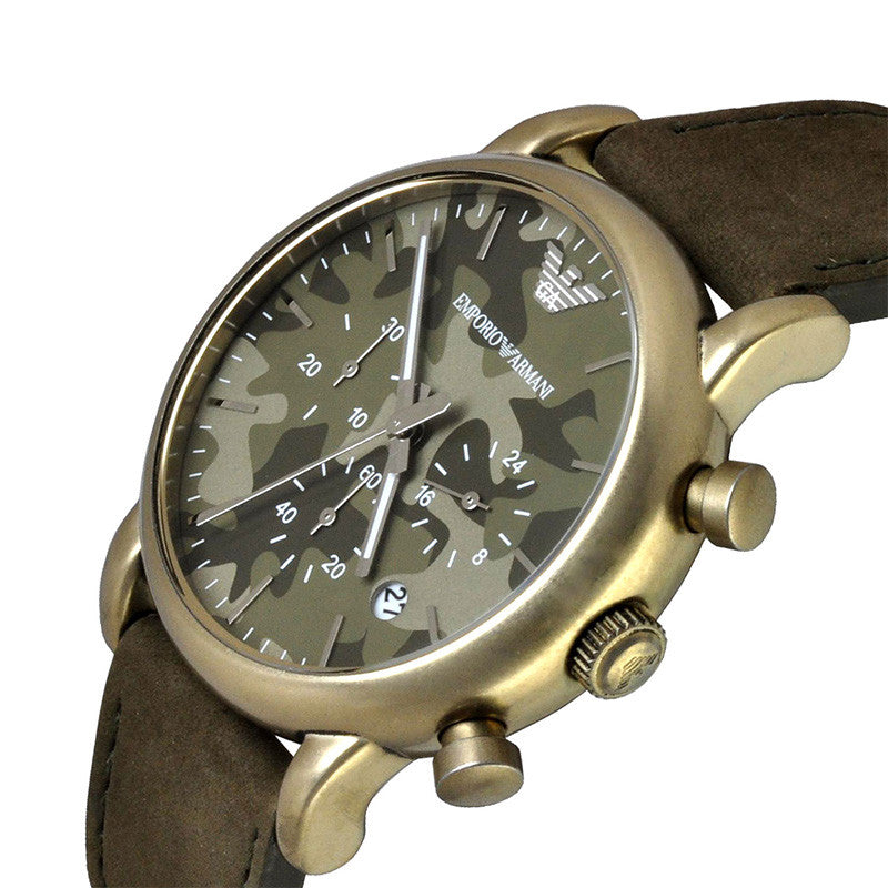 Chronograph Camouflage Dial Green Leather Men's Watch