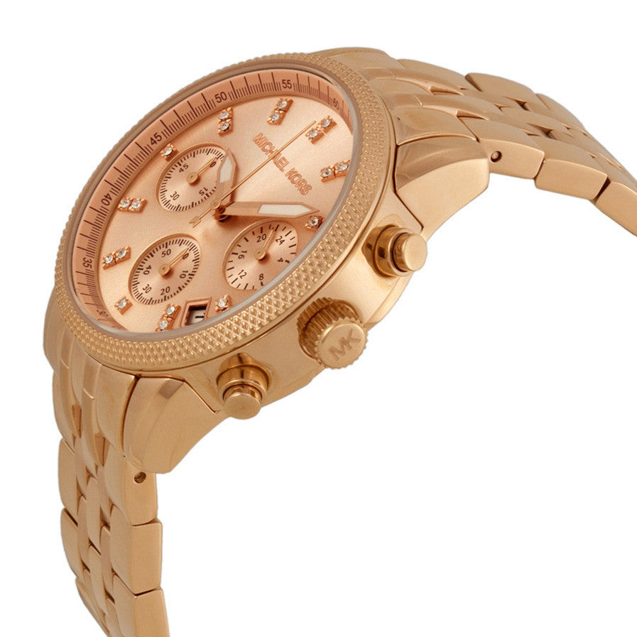 Ritz Chronograph Rose Gold-tone Dial Steel Ladies Watch