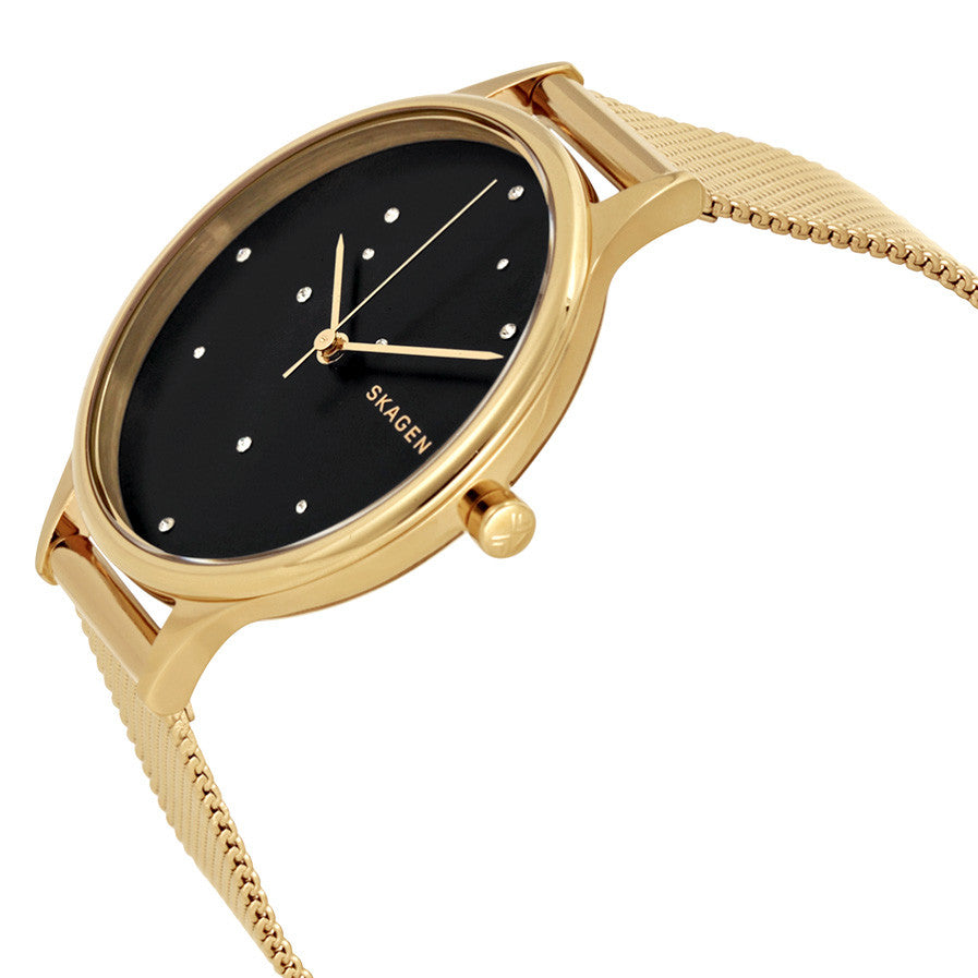 "Anita Black ""Night Sky"", Crystal-Dotted Dial Ladies Watch"