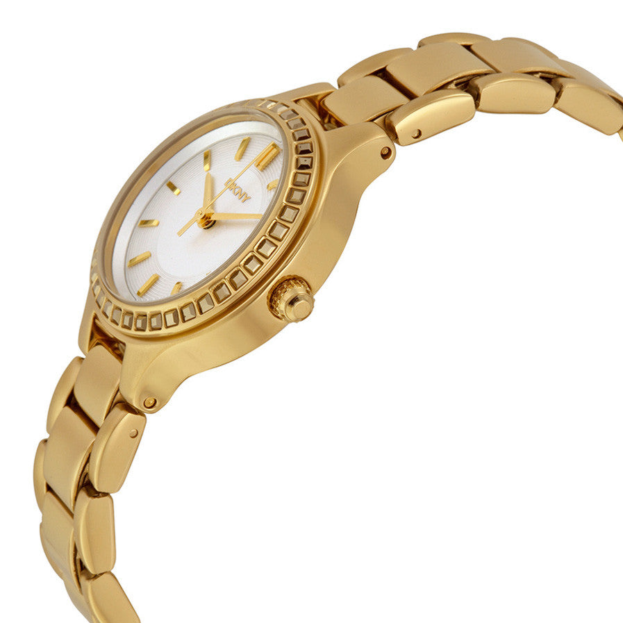Chambers White Dial Yellow Gold-tone Ladies Watch