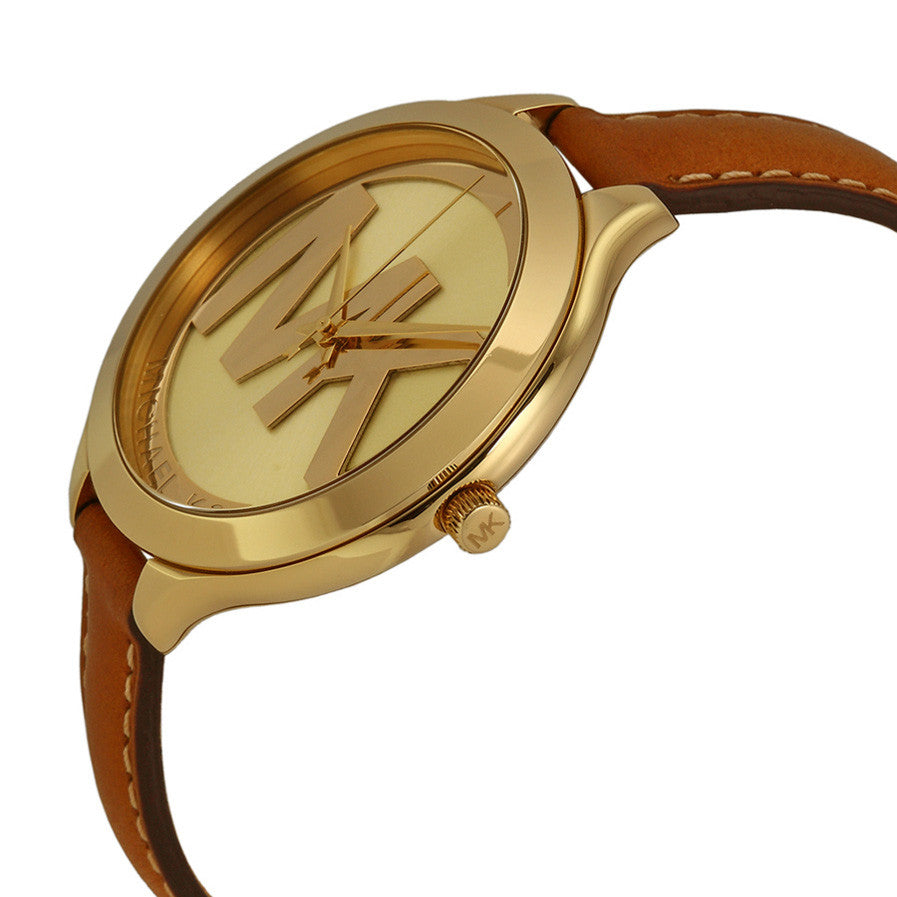 Slim Runway Gold Dial Tan Leather Strap Ladies Watch