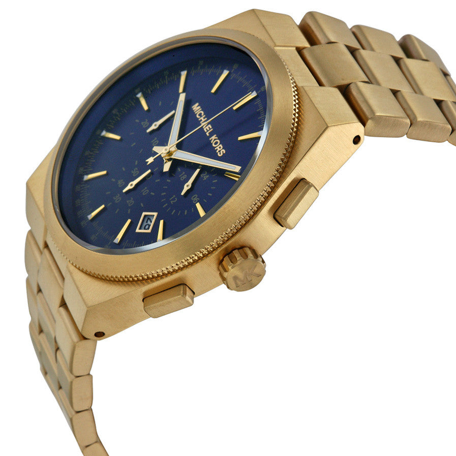 Brooks Chronograph Blue Dial Gold-tone Men's Watch