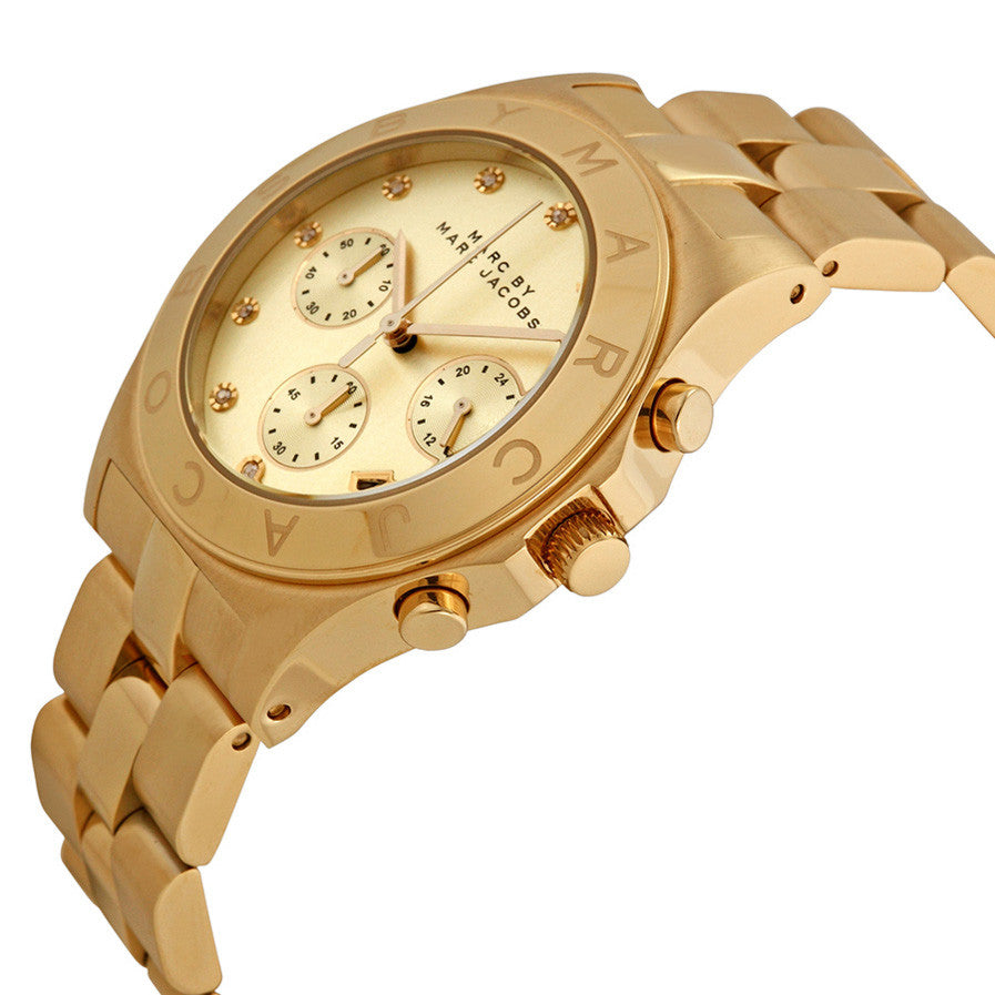Blade Chronograph Gold Dial Gold-Tone Stainless Steel Ladies Watch