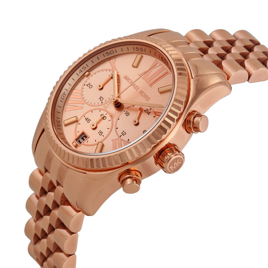 f9e3b2278cc6 Michael Kors MK5569 Lexington Chronograph Rose Dial Rose Gold PVD ...