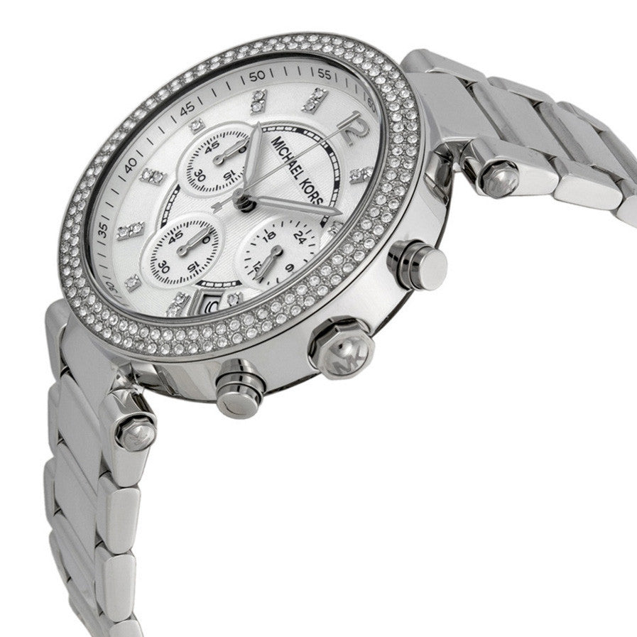 Parker Silver Dial Stainless Steel Chronograph Ladies Watch