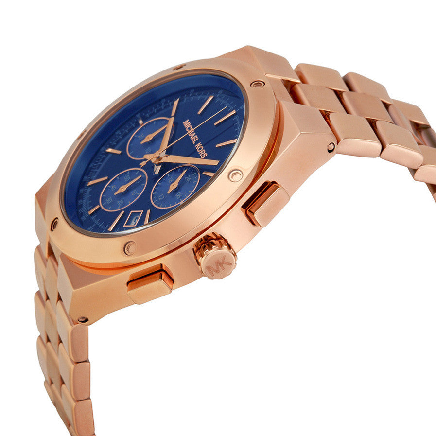Reagan Chronograph Blue Dial Rose Gold-tone Ladies Watch MK6148