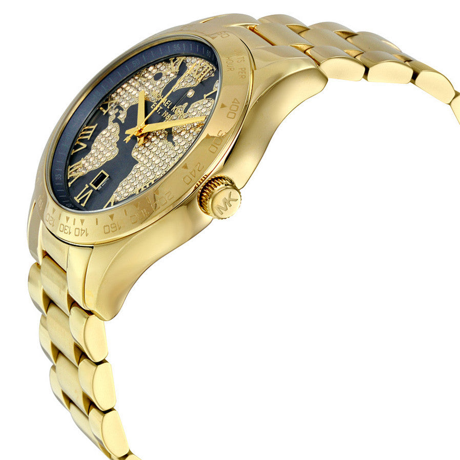 Layton Blue Crystal Pave Dial Gold-tone Ladies Watch