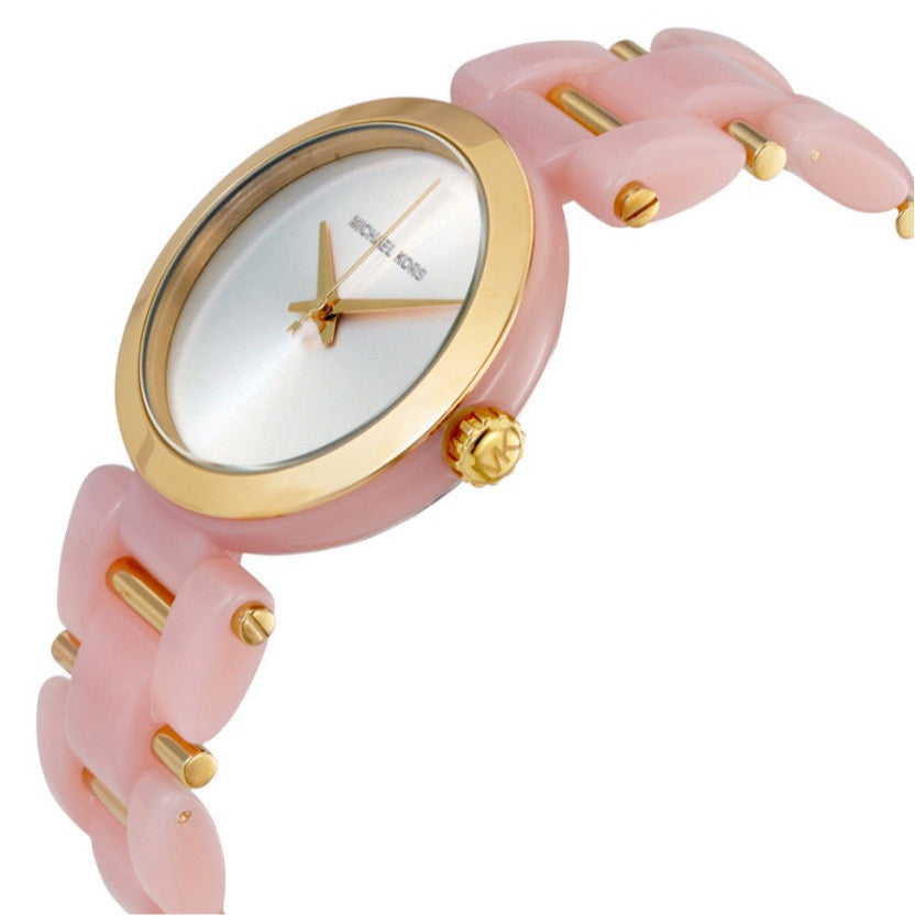 Delray Gold-Tone Dial Pink Acetate Ladies Watch