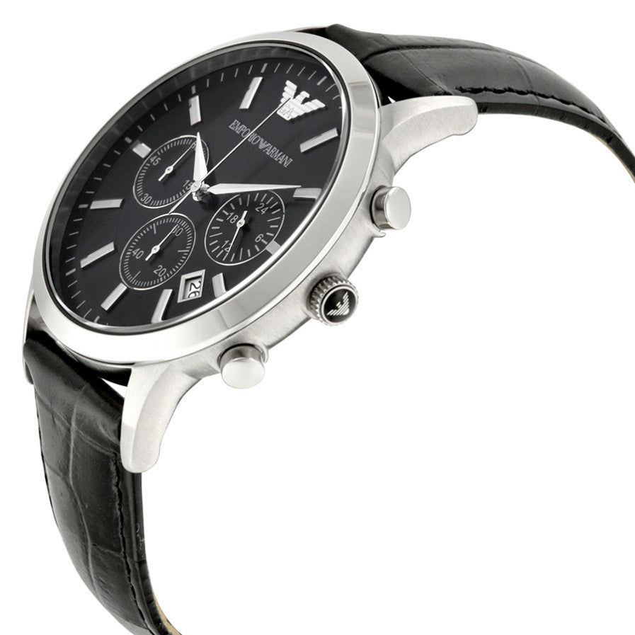Chronograph Black Dial Black Leather Men's Watch