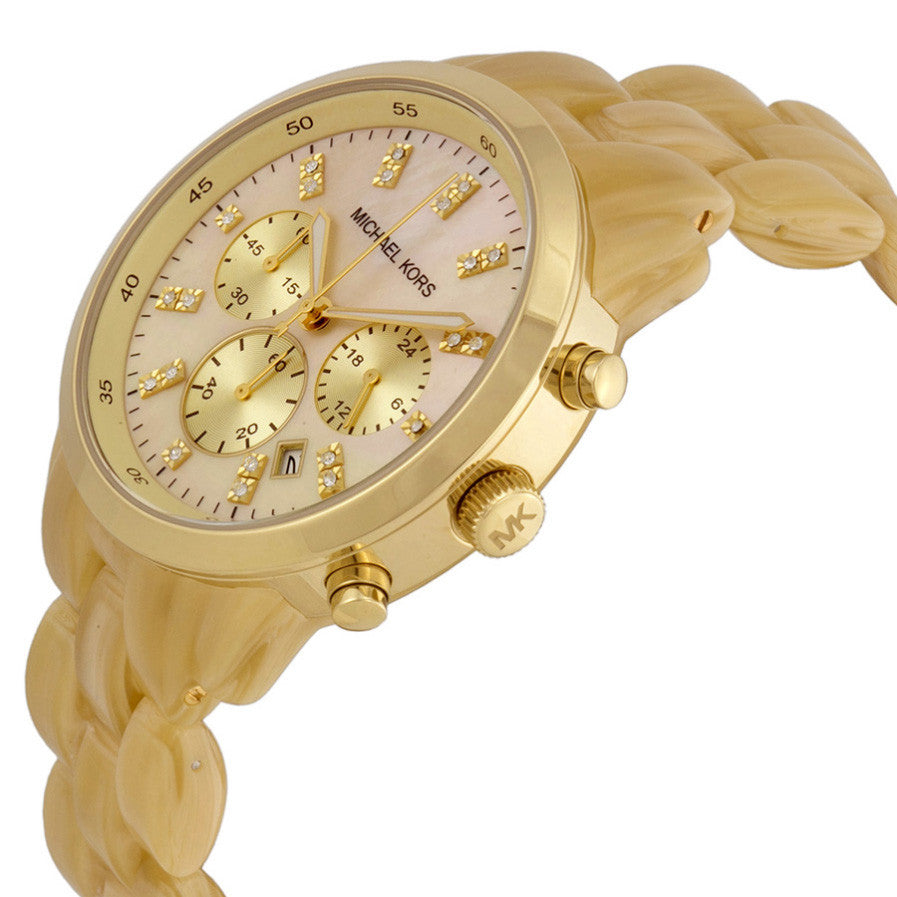 Jet Set Champane Mother of Pearl Dial Ladies Chronograph Watch