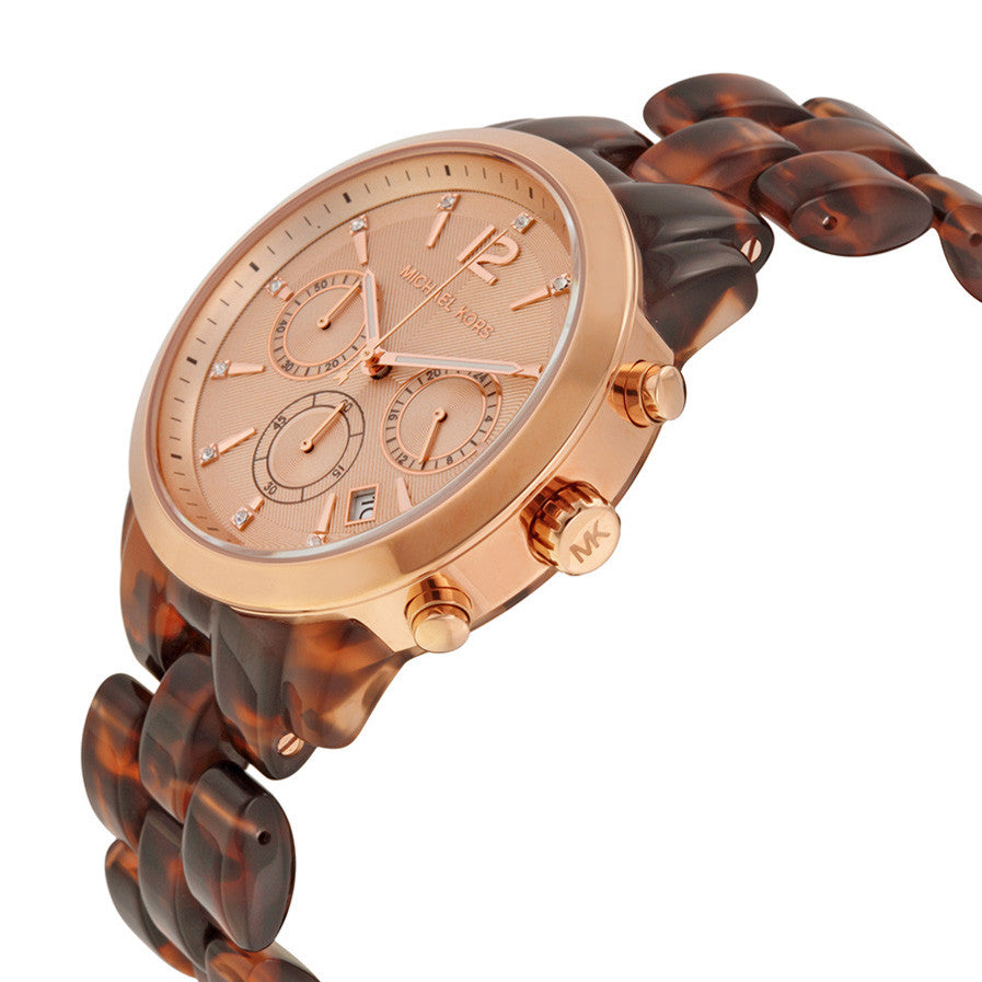 Audrina Chronograph Tortoise Rose Gold-Tone Ladies Watch