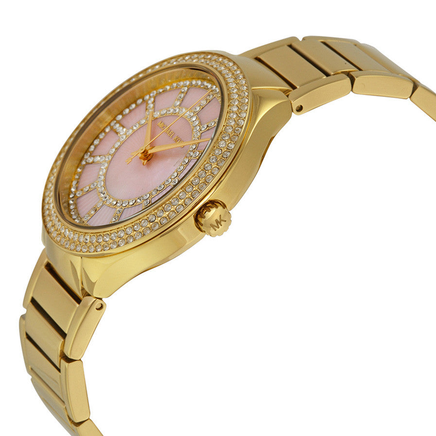 Kerry Pink Mother of Pearl Dial Gold- tone Stainless Steel Ladies Watch