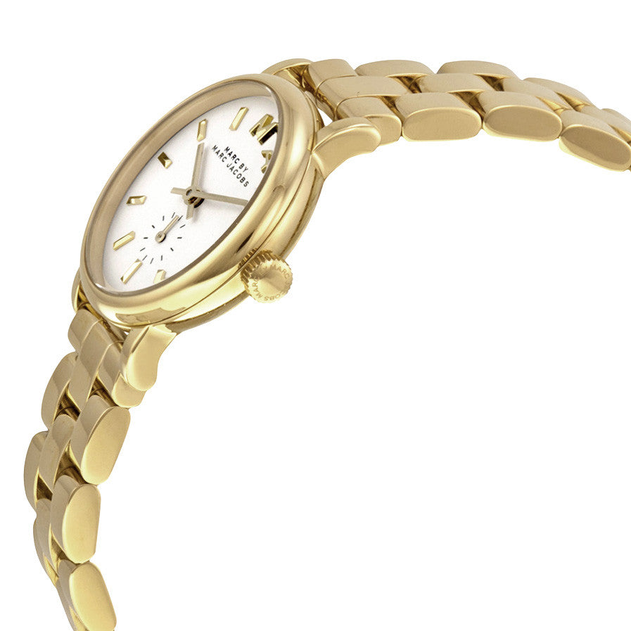 Baker White Pearlized Dial Gold-Tone Stainless Steel Ladies Watch