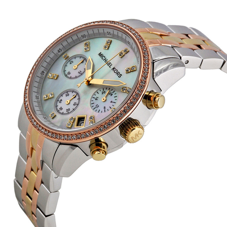 Ritz Chronograph Mother of Pearl Dial Tricolor Steel Ladies Watch