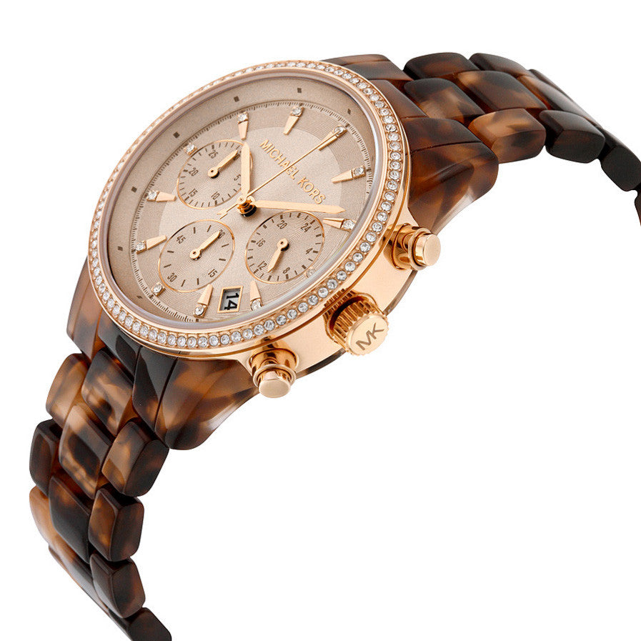 Ritz Gold Dial Chronograph Tortoise Acetate Ladies Watch