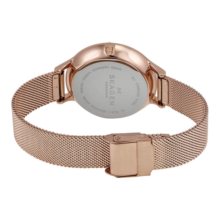 Anita Multi-Function Rose Dial Rose Gold-tone Mesh Ladies Watch