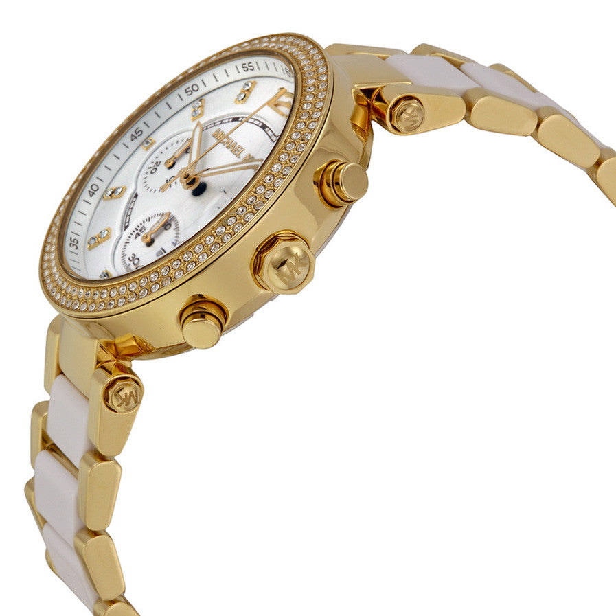 Parker Multi-function White Dial Gold-tone And White Acetate Ladies Watch