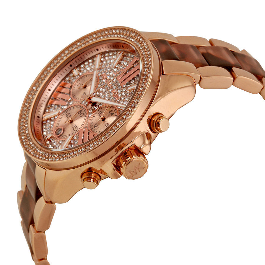 Wren Chronograph Crystal Pave Dial Rose Gold-tone and Tortoise-shell Acetate Ladies Watch