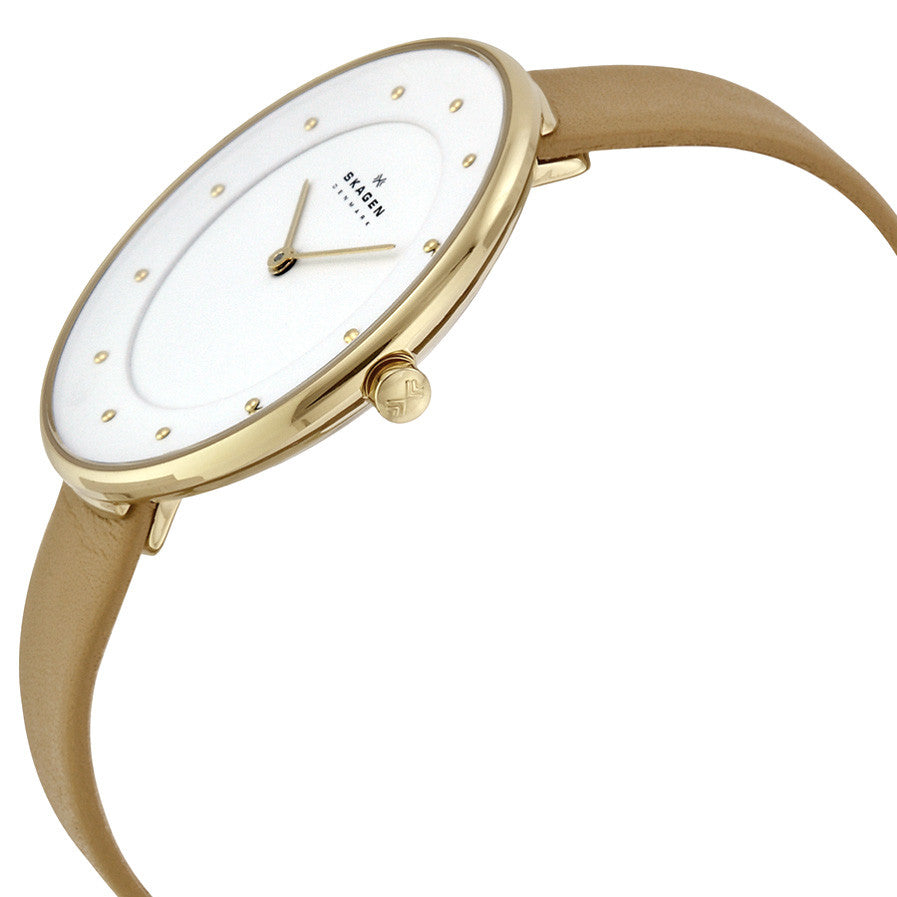 White Dial Beige Leather Ladies Watch