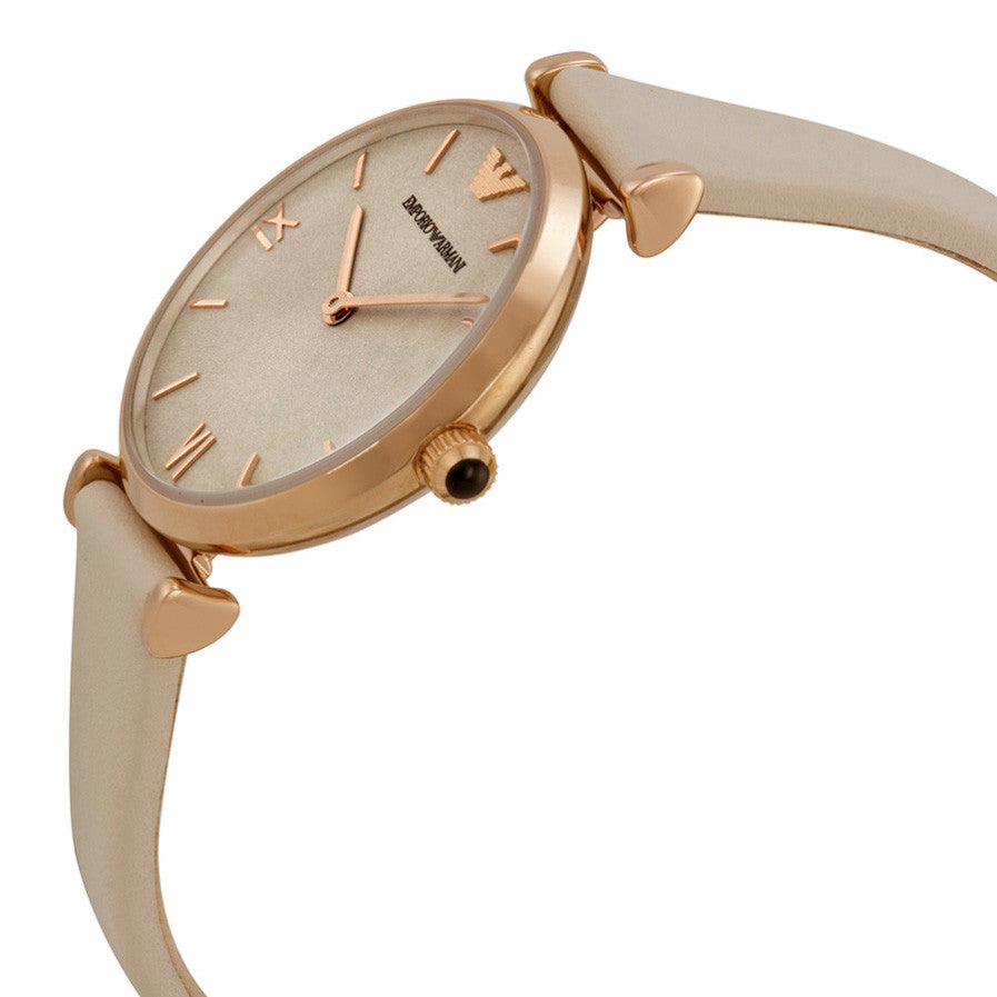 Emporio Light Brown Dial White Leather Ladies Watch