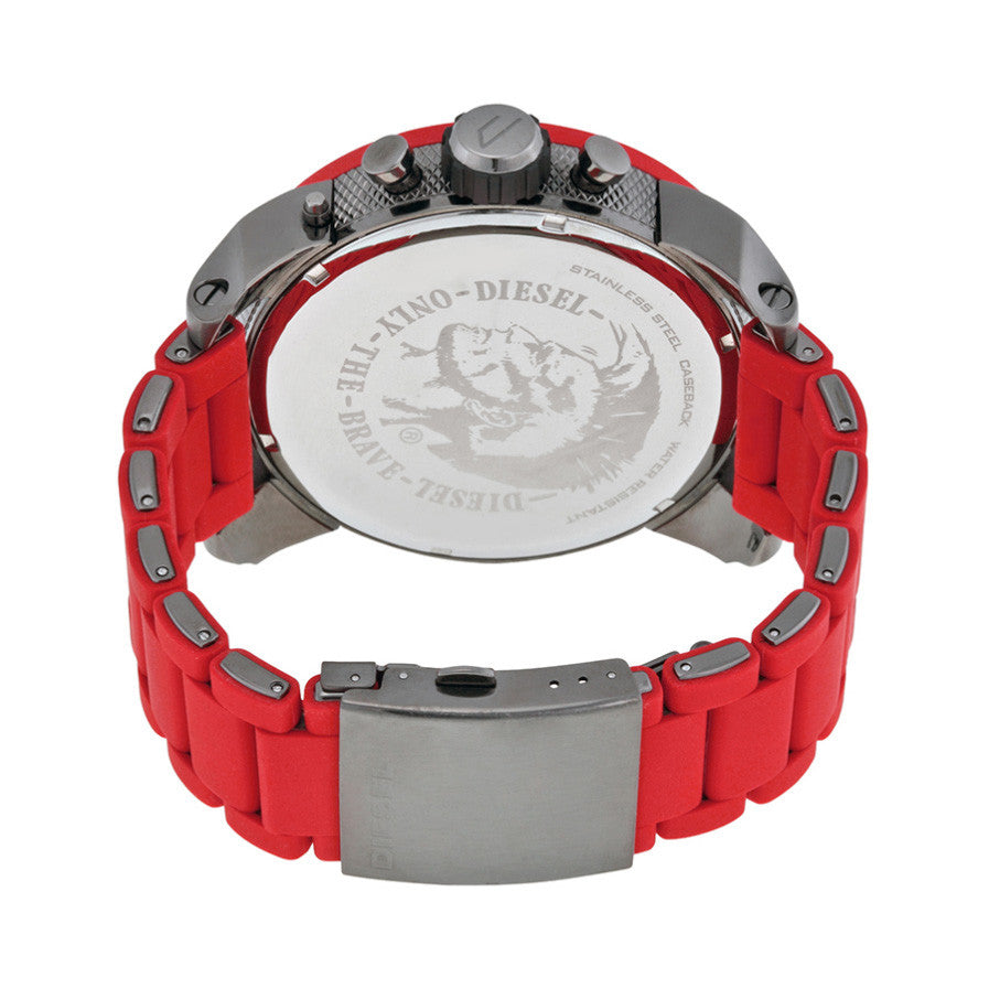 Daddies Series Chronograph Grey Four Time Zone Dial Red Silicone Men's Watch