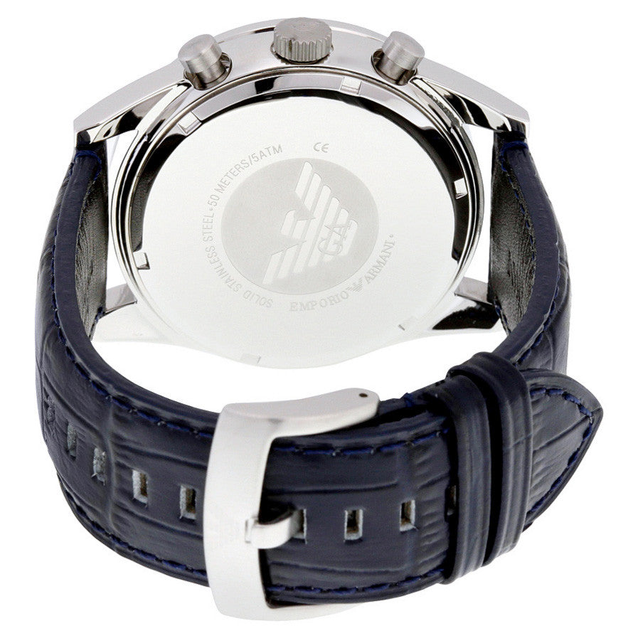 Chronograph Navy Blue Dial Black Leather Men's Watch